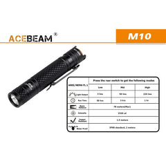 224 Lumen Edc Flashlight - 1X Aa - Acebeam M10 Olive - Flashlights - Acebeam - Colonel Mustard