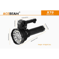 60 000 Lumen Flashlight/searchlight- Acebeam X70 - Flashlights - Acebeam - Colonel Mustard
