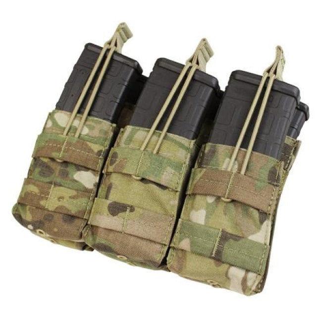 Ar/m4 Triple Open-Top Stacker Mag Pouch - Multicam - Molle Pouches And Accessories - Condor Outdoor - Colonel Mustard