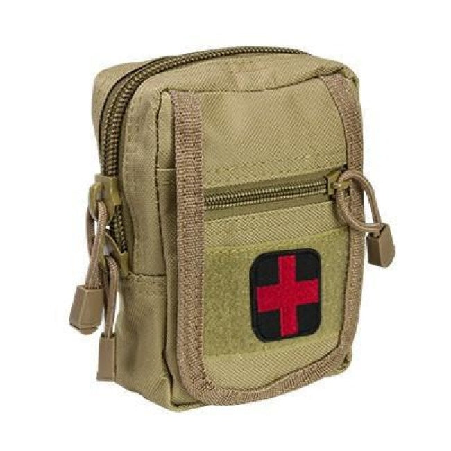Compact Trauma Kit With Tourniquet & Pouch - Tan - Molle Pouches And Accessories - Vism - Colonel Mustard