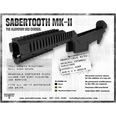 New Sabertooth Mk Ii Sks Aluminum Stock - Black - Free Delivery In Canada - Mounting Systems - Matador Arms Corp - Colonel Mustard