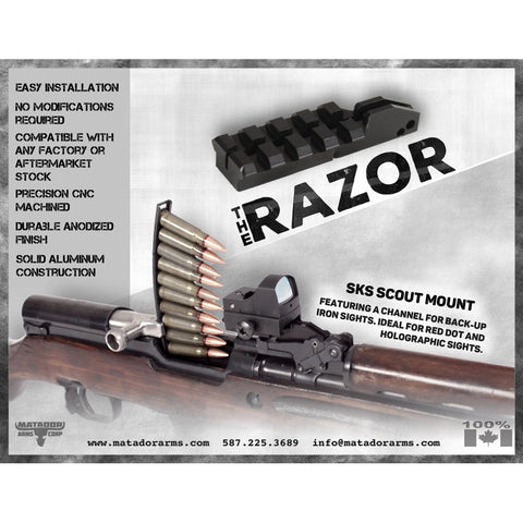 Razor Sks Scout Mount - Short Picatinny Rail - Mounting Systems - Matador Arms Corp - Colonel Mustard