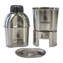Stainless Steel Widemouth Canteen Cooking Kit - Pathfinder - Outdoor Equipment - Self Reliance Outfitters - Colonel Mustard