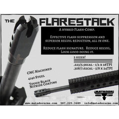The Flarestack Ar-15 Muzzle Brake / Flash Hider 5.56 / .223 - 1/2 X 28 Thread - Muzzle Brakes - Matador Arms Corp - Colonel Mustard