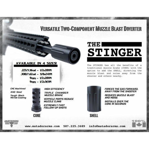 The New Stinger-308 Muzzle Brake 7.62 / .308 - Standard 5/8 X 24 Thread - Muzzle Brakes - Matador Arms Corp - Colonel Mustard