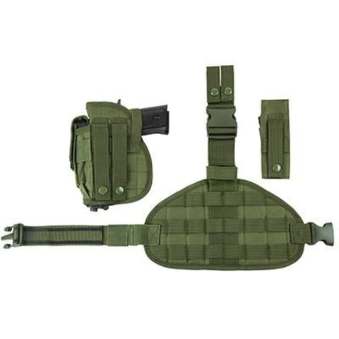 Universal Drop Leg Panel Holster Mag Pouches Combo - Green (2956) - Holsters And Scabbards - Vism - Colonel Mustard