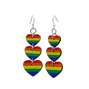 Rainbow Heart Dangling Earrings