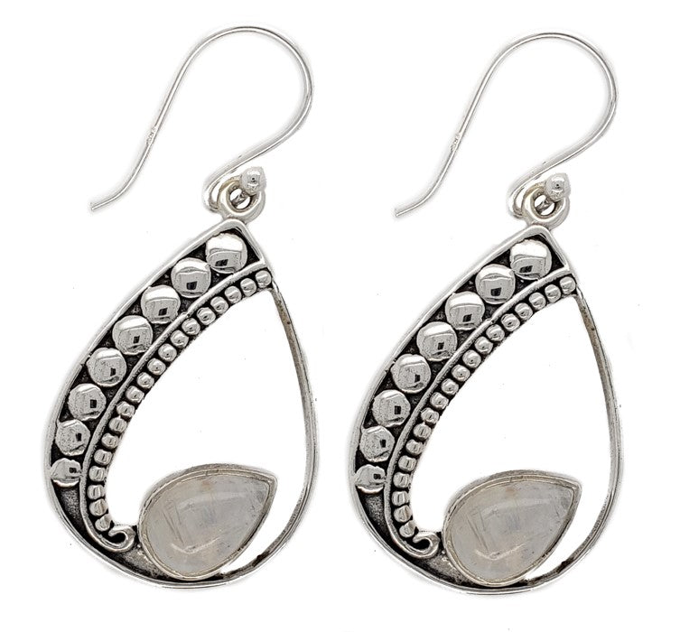 Dotted Rainbow Moonstone Earrings