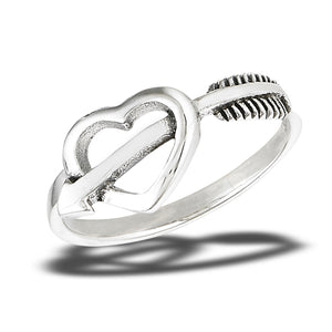 Sterling Silver Cupid's Arrow Through A Heart Ring
