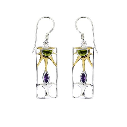 Sunrise Amethyst and Peridot Earrings