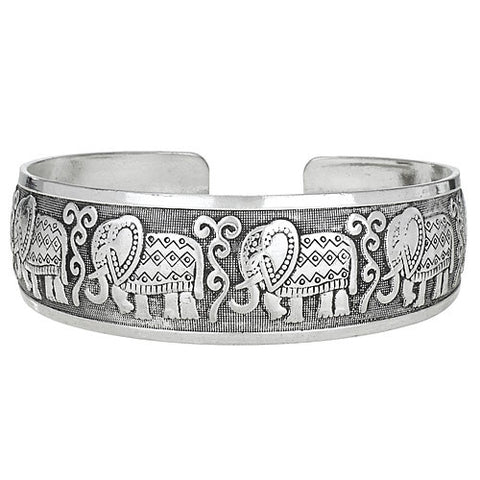 Marching Elephants Zinc Cuff Bracelet