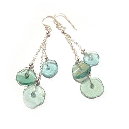 Triple Dangle Roman Glass Earrings