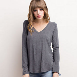 V-neck Long-sleeved Bamboo Top