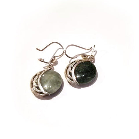 Double Stone Moon Jade Earrings