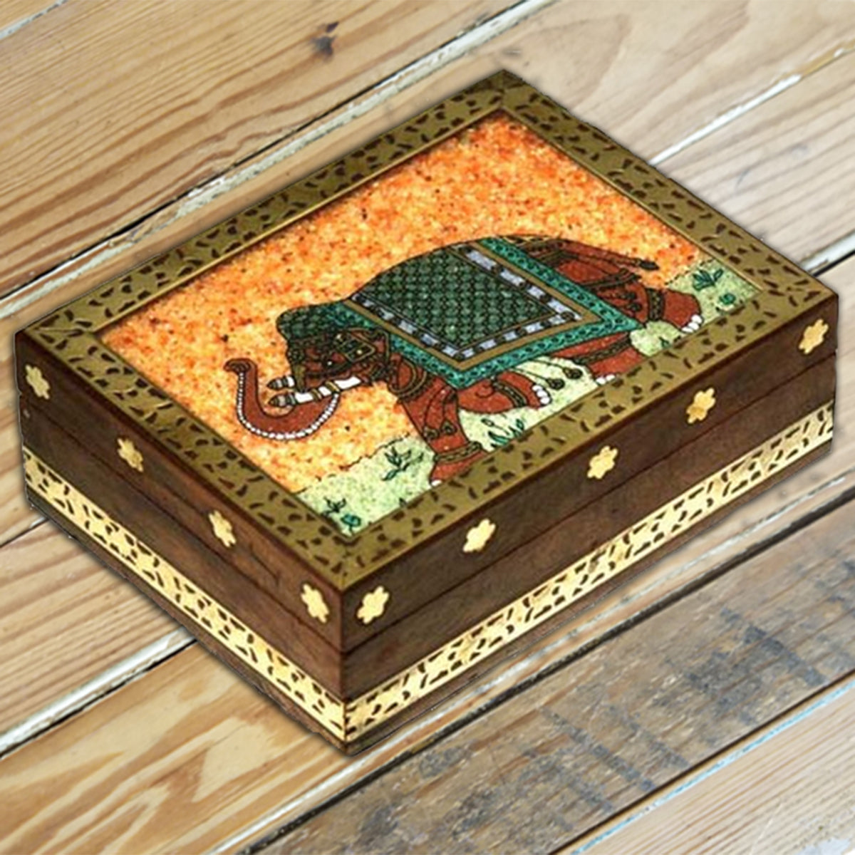Stone Inlay Elephant Wood Box