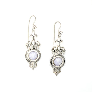 Fleur De Lis Lilac Jade Wire Earrings