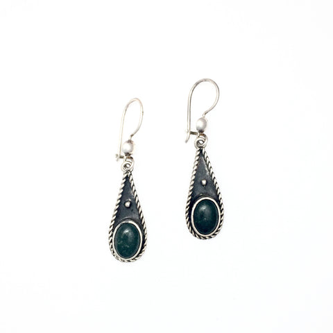 Medium Maya Jade Tear Drop Silver Rope Earrings