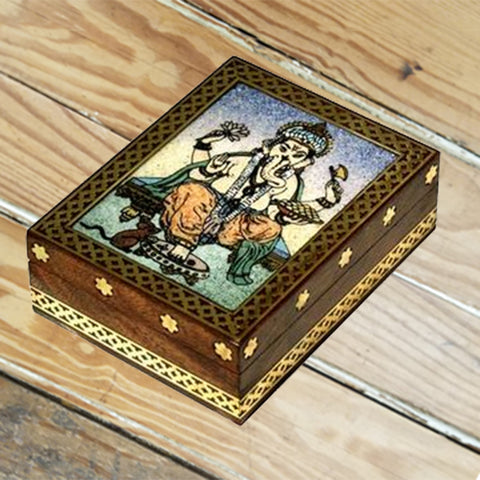 Wood box w/Stone Inlay- Ganesha