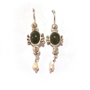 Jade Sterling Silver Old Mexico Earrings