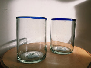 Blue Rimmed Minimal Glass Cup