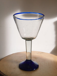 Blue Rimmed Minimal Wine Glass Cup