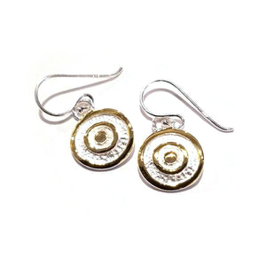 Modern Silver and Gold Circle Earrings