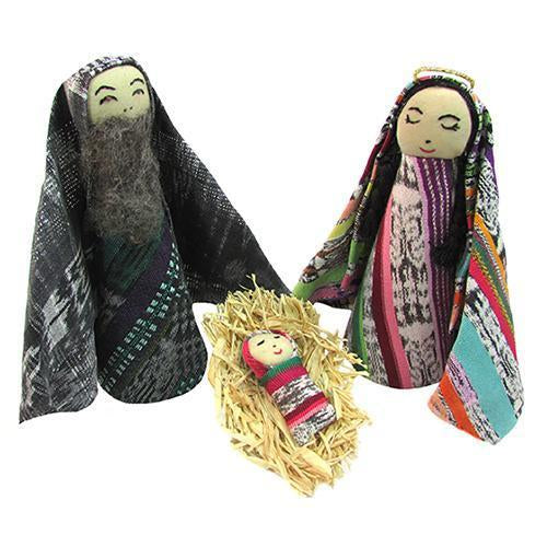 Guatemalan Cloth Recycled 3-Piece Nativity