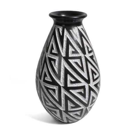 B&W Labyrinth/Tribal Vase