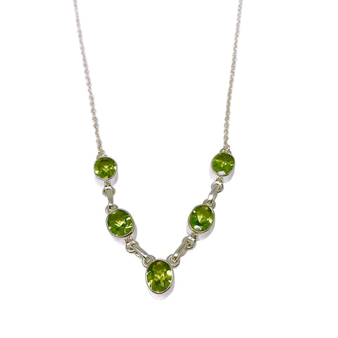 Peridot Five Oval Stone Silver Necklace