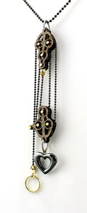 Block and Tackle Pulley Heart Pendant Necklace