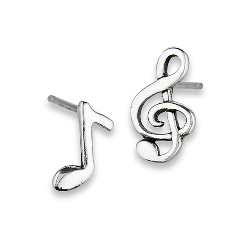 sterling silver clef and music note stud earrings
