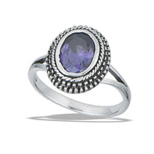 Load image into Gallery viewer, Bali Style Ring with Granulation and Synthetic Amethyst