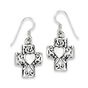 Heart Celtic Cross Dangle Earrings