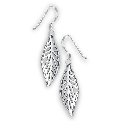 Silver Cutout Leaf Dangle Earrings