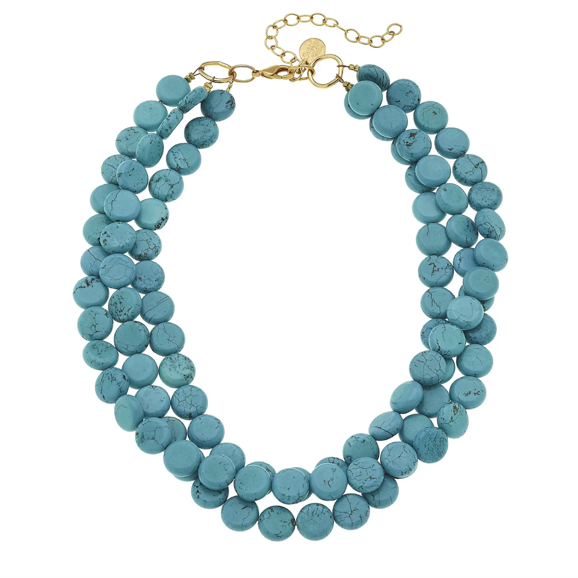 3-Strand Genuine turquoise Necklace with Gold Clasp