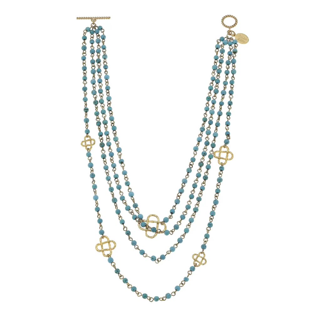Multi-Stand Turquoise with Gold Clover Necklace
