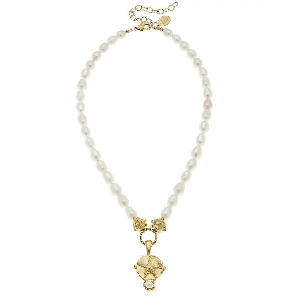 Gold Starfish Intaglio with hand set genuine freshwater pearls necklace