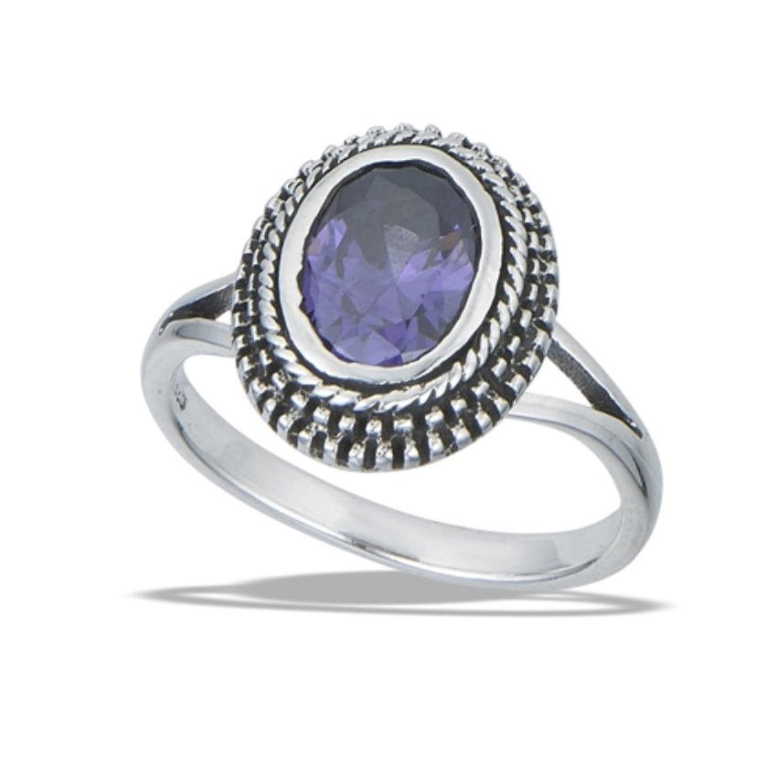 Bali Style Ring with Granulation and Synthetic Amethyst