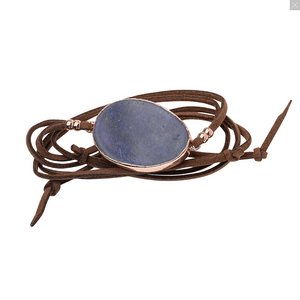 Suede Stone Wrap Bracelet/Necklace