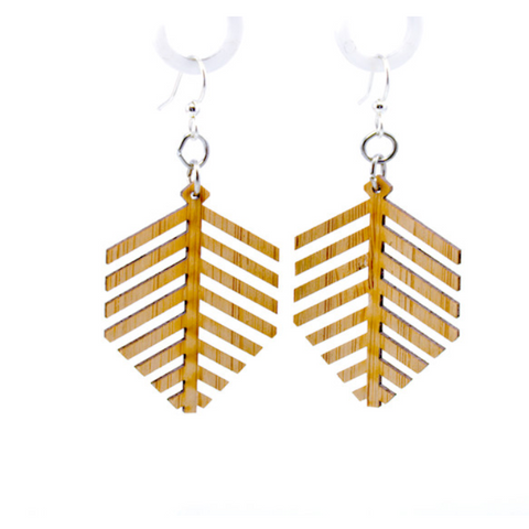 Modern Leaf Bamboo Earrings