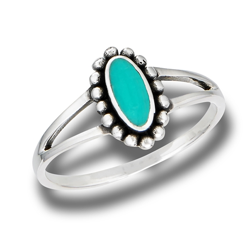 Oval Ring With Granulation And Synthetic Turquoise