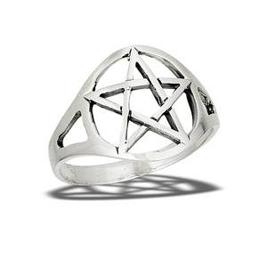 High Polish Heavy Pentagram ring