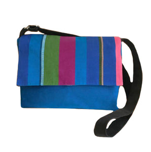 Woven Blue Multi Stripe Messenger Bag