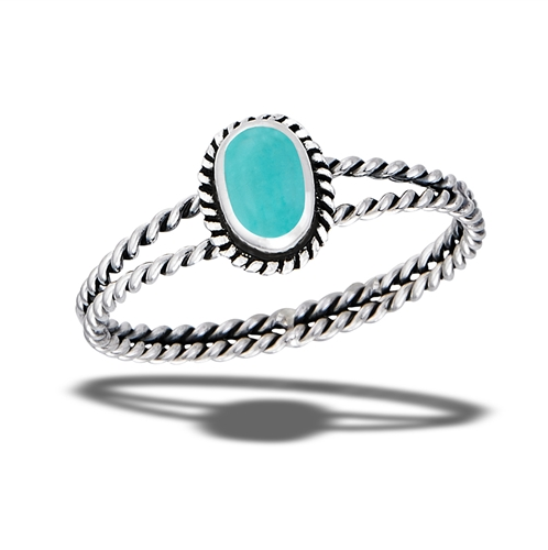Double Rope Braided Synthetic Turquoise Ring