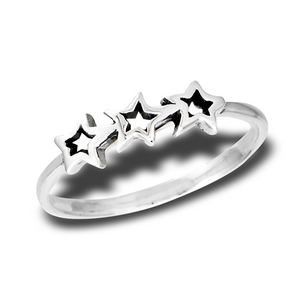 Sterling Silver Three Shooting Stars Ring