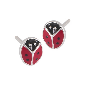 Sterling silver ladybug stud earring with red and black enamel
