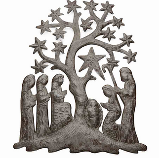 Recycled metal nativity