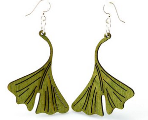 Ginkgo Leaf Wood Earrings
