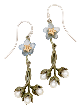 Forget Me Not Single Flower & Pearl Dangle Earrings