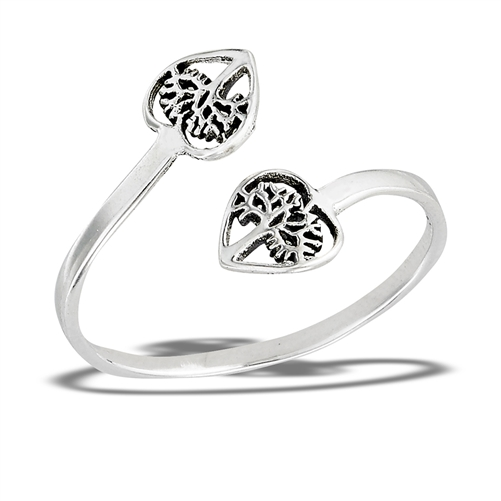 Sterling Silver Adjustable heart tree of life ring